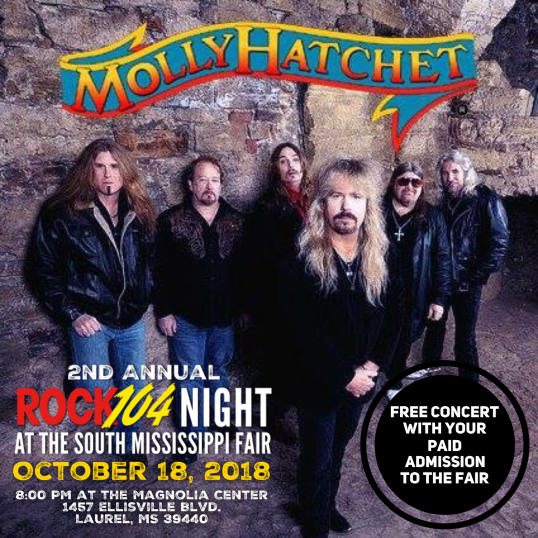 Molly Hatchet - 2nd Annual Rock104 Night at the South Mississippi Fair Oct 18, 2018